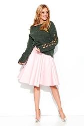 Sweter z ażurowymi dziurami - khaki