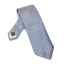 Elegancki błękitny krawat van thorn w różowe kropki