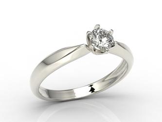 Pierścionek zaręczynowy z białego złota z brylantem, model ap-3630b - białe