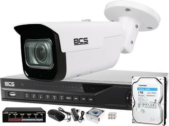 Zm13021 zestaw monitoringu dla ochrony parkingu hali magazynu z 1x kamera 2mp bcs-tip5201ir-v-v + akcesoria