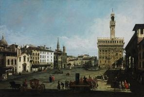 Reprodukcja piazza della signoria in florence, canaletto, bernardo bellotto