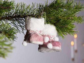 Ozdoba choinkowa  zawieszka na boże narodzenie altom design buciki różowe