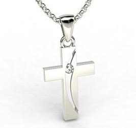 Krzyż wykonany z białego złota z diamentem kr-4b