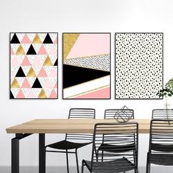 Zestaw trzech plakatów - geometric fantasy , wymiary - 70cm x 100cm 3 sztuki, kolor ramki - czarny