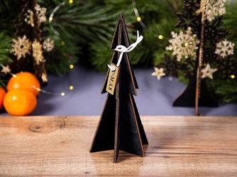 Figurka  dekoracja świąteczna  ozdoba drewniana na boże narodzenie altom design choinka czarna 22 cm
