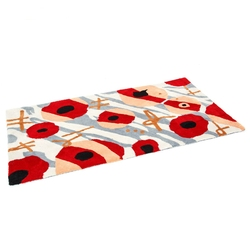 Dywan shaggy wzorzysty szaro-czerwony  80 x 150 cm