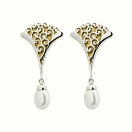 Infantka srebrne kolczyki z perłą i złotem długie