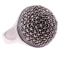 Gaja srebrny pierścionek z markazytami, duży