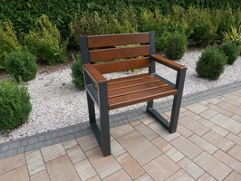 Stabilne krzesło ogrodowe argon z metalowymi nogami  z odpornego drewna olchowego