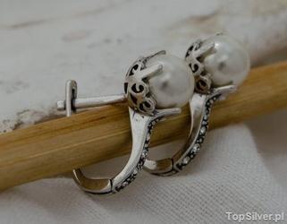 Alli - srebrne kolczyki z perła i kryształkami