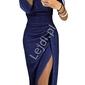 Granatowa połyskująca sukienka seksownie opinająca ciało 566