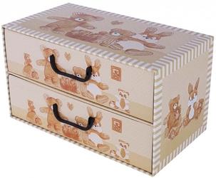 Pudełko 2 szufladki poziome misie beżowe