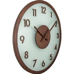 Zegar na ścianę frosted wood nextime brązowy 3205 br
