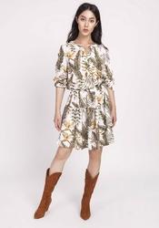 Sukienka ecru zapinana na zatrzaski w tropikalne liście