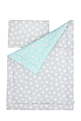 Pościel 100 x 135 - grey and mint stars