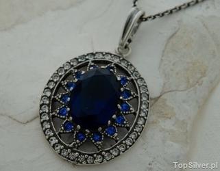 Liria - srebrny wisior szafiry z kryształkami