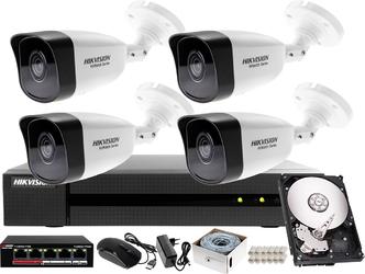 Zestaw do monitoringu ip sklepu, hurtowni, magazynu hikvision hiwatch rejestrator ip hwn-4108mh + 4x kamera 4mp hwi-b140h-m + akcesoria
