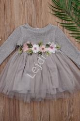 Sukienka dla dziewczynki z haftowanymi kwiatkami i tiulową spódniczką, szara tutu dress 024