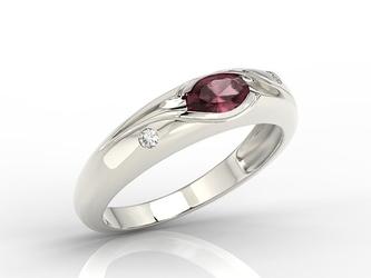 Pierścionek z białego złota z rubinem i diamentami 0,03 ct wzór jp-57b