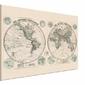Stanfords Mapa Świata, Półkule 1877 - obraz na płótnie