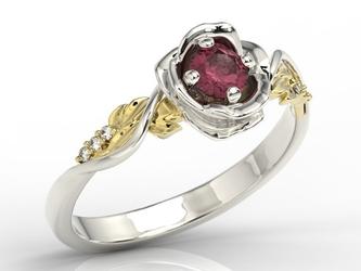 Pierścionek złoty w kształcie róży z rubinem i brylantami lp-7730bz - białe i żółte  rubin