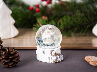 Kula śnieżna z mikołajem  ozdoba na boże narodzenie altom design biała 4,5 x 4,5 x 6,5 cm