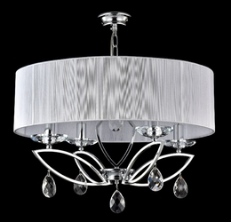 Żyrandol z dużym, eleganckim abażurem i kryształami, chromowany miraggio maytoni mod602-04-n