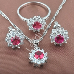 Zestaw biżuterii srebrnej 925 z czerwonymi i białymi cyrkoniami