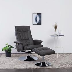 Vidaxl fotel do masażu z podnóżkiem, regulowany, szary, ekoskóra
