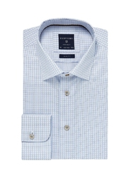 Elegancka błękitna koszula męska profuomo originale w drobną krateczkę 44