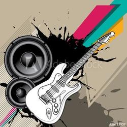 Obraz na płótnie canvas trzyczęściowy tryptyk tło miejskie z gitarą elektryczną.