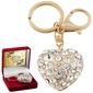 Breloczek do kluczy złote serce cyrkonie prezent z dedykacją