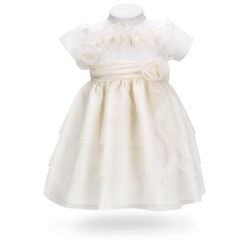Sukienka na chrzest do chrztu ecru potrójna falbana