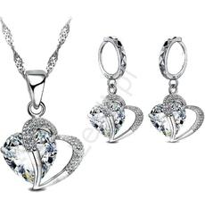 Zestaw biżuteri srebro 925 serca, prezent dla mamy, babci, na walentynki, urodziny