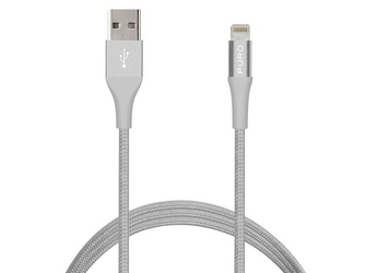 Kabel puro k2 usb mfi lightning iphone ipad ipod 12w 1.2m silver - srebrny