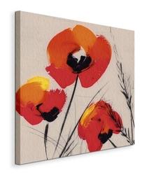 Three poppies - grey - obraz na płótnie