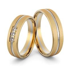 Obrączki ślubne dwukolorowe z brylantami - au-1000