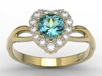 Pierścionek w kształcie serca z topazem swarovski blue i cyrkoniami ap-77z-c - żółte  topaz ice blue