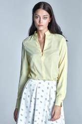 Żółta koszula z długim rękawem ze stójką