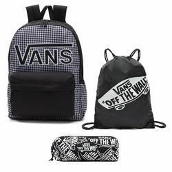 Plecak VANS Realm Flying V Backpack - Houndstooth BlackWhite | VN0A3UI8YER + Worek i Piórnik
