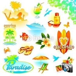 Obraz na płótnie canvas zestaw wypoczynkowy tropikalny, podróży i egzotyczne wakacje wektor