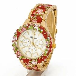 Zegarek BRANSOLETA kwiaty CZERWONY damski - RED