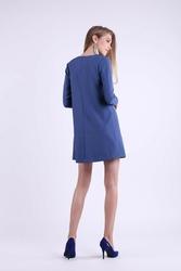 Jeansowa trapezowa krótka sukienka z kokardką na dekolcie