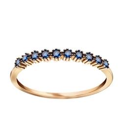Staviori pierścionek. cyrkonia. żółte złoto 0,585.   złoty pierścionek ozdobiony niebieskimi cyrkoniami.