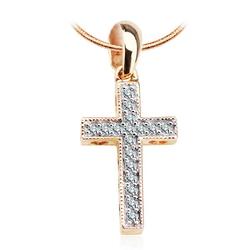Staviori Wisiorek. Krzyżyk i serca 17 Diamentów, szlif brylantowy, masa 0,10 ct., barwa H, czystość I1. Żółte, Białe Złoto 0,585. Wymiary 9x21 mm.