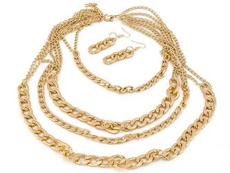 Łańcuch kolczyki glam gold