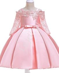 Jasno różowa sukienka dla dziewczynki z dekoltem ala hiszpanka 083