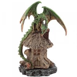Zielony smok i chatka czarownicy - podstawka na kadzidła stożkowe zwykłe