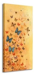 Butterflies on warm ochre - obraz na płótnie