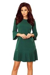 Zielona plisowana sukienka z falbankami